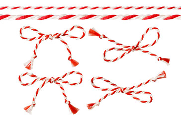 Bow of Red White String, Twine Rope Decoration, Twisted Thread Cord
