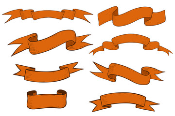 Collection of orange ribbon banners and scrolls. Hand drawn sketch