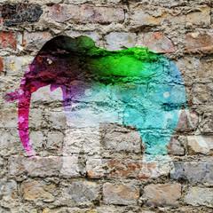 Street art, éléphant multicolore
