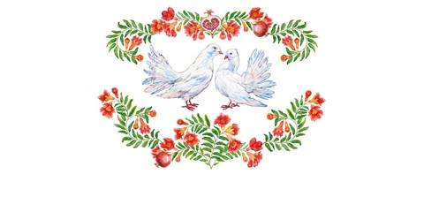 A couple of pigeons. The greeting card. The fruit and flower of pomegranate. Watercolor.