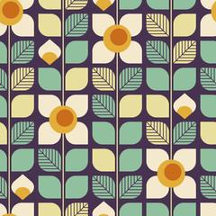 motif rétro géométrique sans couture avec des feuilles et des fleurs