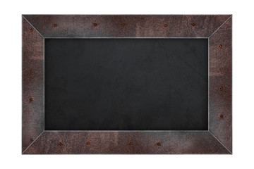 Rusty steel frame menu board, or blackboard, isolated on white background