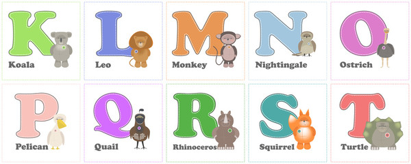 Alphabet Zoo, funny plush animals. English alphabet letters with K on T. Vector cartoon