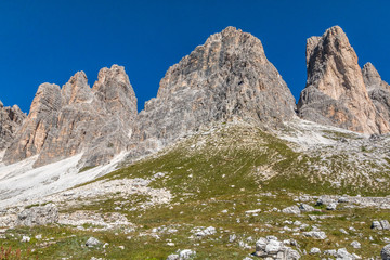 Nice view of Tre Cime Peak in Italy