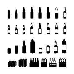 Beer bottle and beercan pictogram icon set