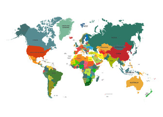 World map with country names isolated on white background. Vector illustration.