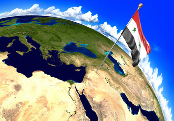 Syria national flag marking the country location on world map. 3D rendering, parts of this image furnished by NASA