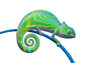 Bright green chameleon on white background, 3d rendering. View side