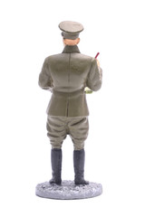 Tin Soldier battalion commissar infantry, USSR 1941 isolated on