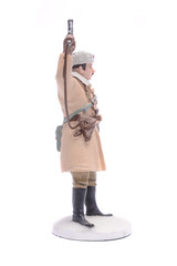 Tin Soldier officer in winter form 1943-45 USSR isolated on whit