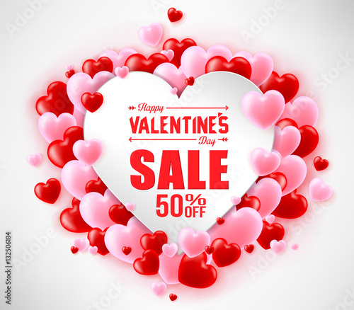 Happy Valentines Day Sale With Hearts For Promotional Purposes