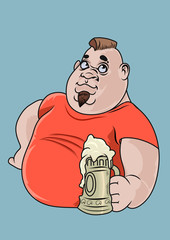 A happy fat boy having a big beer. Vector Illustration