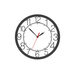 Icon of wall clock face with digits, second and clock hands