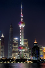Wall Murals Shanghai Night Shanghai skyline with Oriental Pearl Tower in the front and reflections in Huangpu river. Beautiful modern city.
