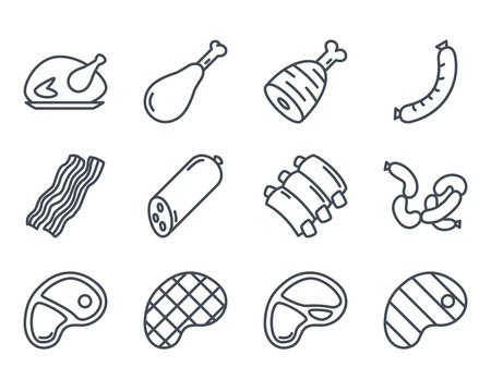 Meat Food Icon Outlined