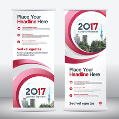 Red Color Scheme with City Background Business Roll Up Design Template.Flag Banner Design. Can be adapt to Brochure, Annual Report, Magazine,Poster, Corporate Presentation, Portfolio, Flyer, Website