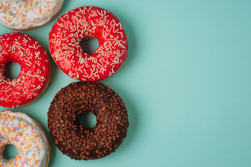 donuts on a blue background