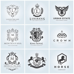 Crest logo collection. Hotel  horse  fashion  luxury  logo template.