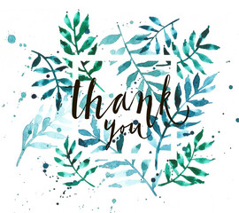 Vintage watercolor palm leaves background with word thank you