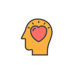Head with heart line icon, filled outline vector sign, linear colorful pictogram isolated on white. In love symbol, logo illustration