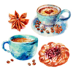 Watercolor Hand drawn Coffee with cinnamon and sweets puff bun with cherry and curd cream illustration isolated on white background. Coffee set is perfect for decoration Cafe