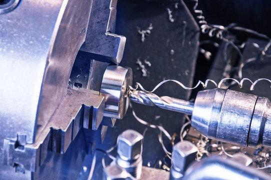 in metal workshop - milling machine