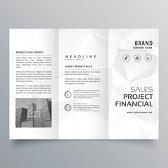minimal abstract gray polygon shapes trifold brochure template