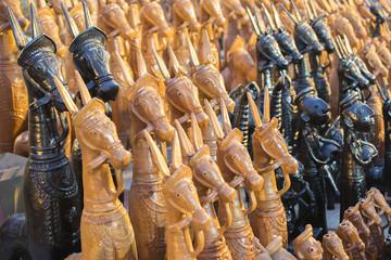 Wood made handicraft items on display , Kolkata