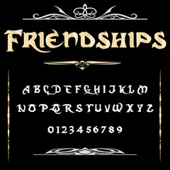 Script Font Typeface Friendships vintage script font Vector typeface for labels and any type designs