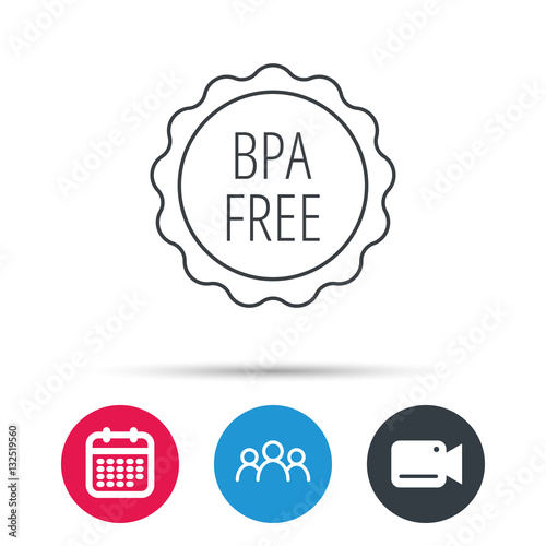 bpa free icon bisphenol plastic sign group of people video cam and calendar icons vector. Black Bedroom Furniture Sets. Home Design Ideas
