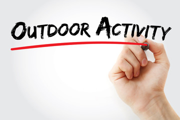 Hand writing Outdoor activity with marker, concept background