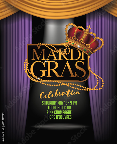 Mardi Gras Background With Spotlight And Purple Gold And Green Dramatic Curtains Crown And