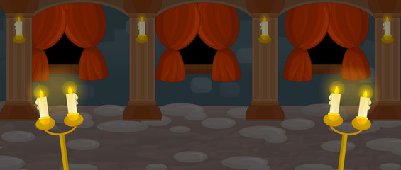 Cartoon empty stage of castle chamber - for different usage - illustration for children