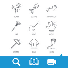 Scissors, hammer and gloves icons. Shovel, watering can and rake linear signs. Cloak, boots and flower flat line icons. Video cam, book and magnifier search icons. Vector