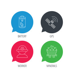 Colored speech bubbles. Worker, minerals and GPS satellite icons. Battery linear sign. Flat web buttons with linear icons. Vector