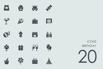 Set of birthday icons