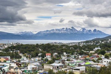 Colorful houses in Ushuaia, Argentina. Province of Tierra del Fuego.