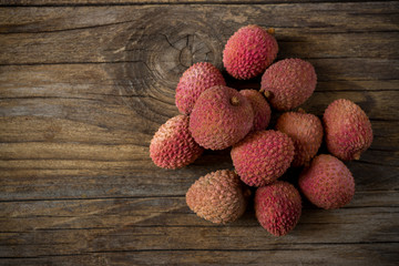 Litchis on wooden