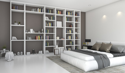 3d rendering contemporary colorful bedroom with built in bookshelf