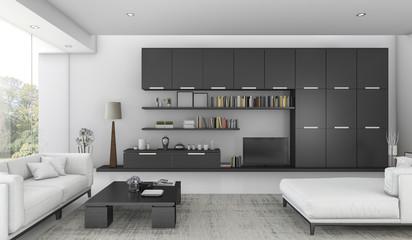 3d rendering black built in shelf and sofa bed in living room