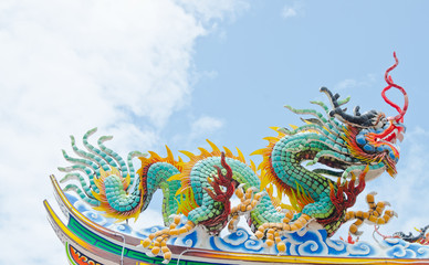 dragon statue on the top of the roof at chinese temple