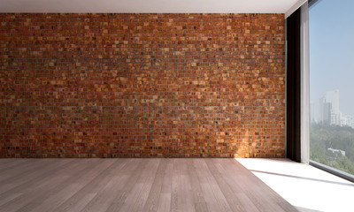 The interior design of red brick wall room