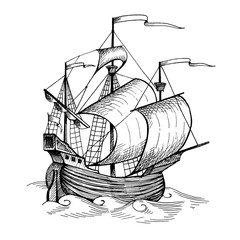 Old caravel, vintage sailboat. Hand drawn sketch.