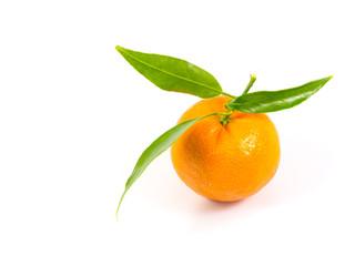 Fresh orange fruit with leaf in white background.