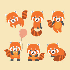 Cute red panda on yellow background. Animal cartoon design.