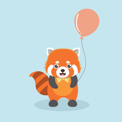 Vector illustration of red panda cartoon style.
