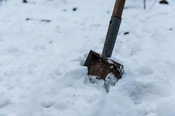 Old tired rusty garden shovel (scoop) in my backyard have relax in snow on the winter time.