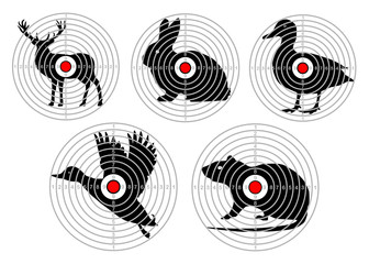 set targets for animal shooting. Training hunting. vector