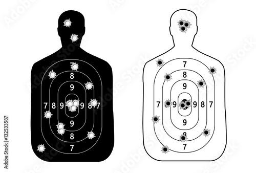 Human man, set shooting range target shot of bullet holes