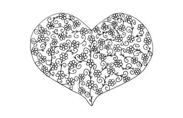 Valentinsherz mit floralem Muster, zum Ausmalen